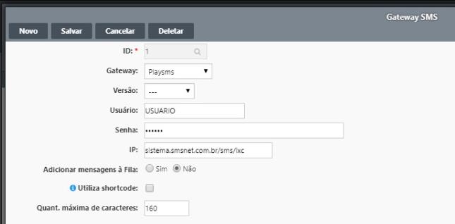 Configuração do Gateway SMS